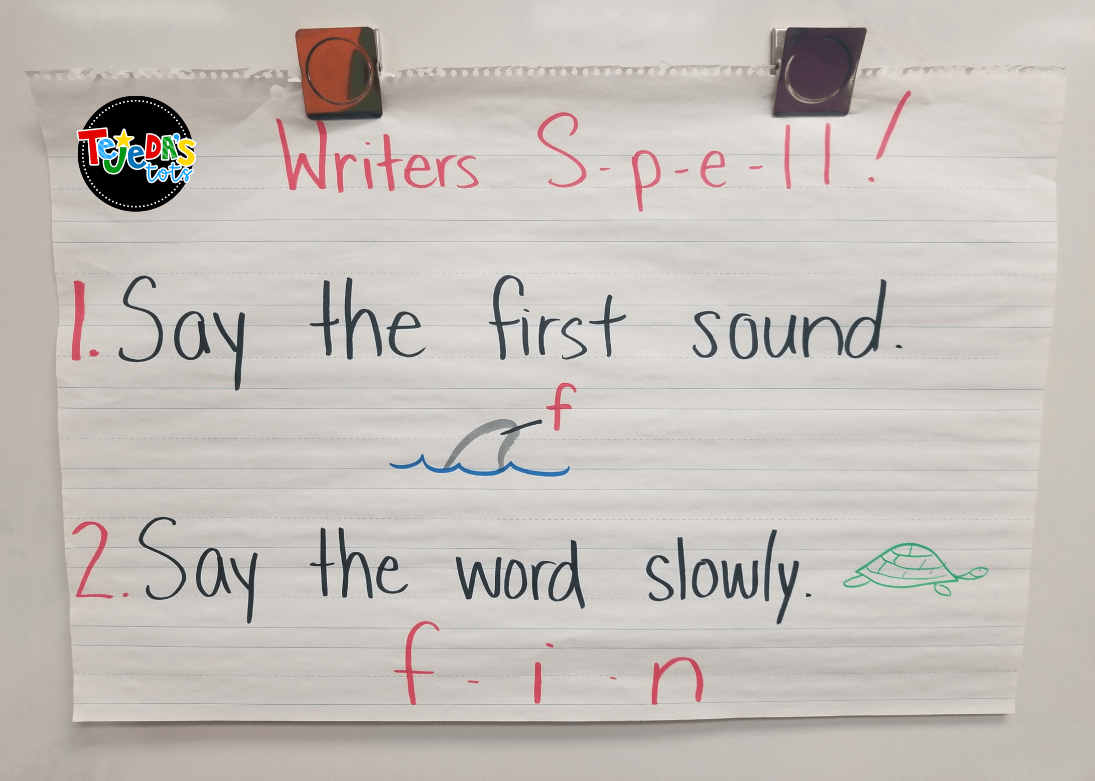 Teach emergent writers to stretch out words to help them spell with these writing warm-ups. Just takes 5 minutes before your independent writer's workshop session. #tejedastots #emergentwriters