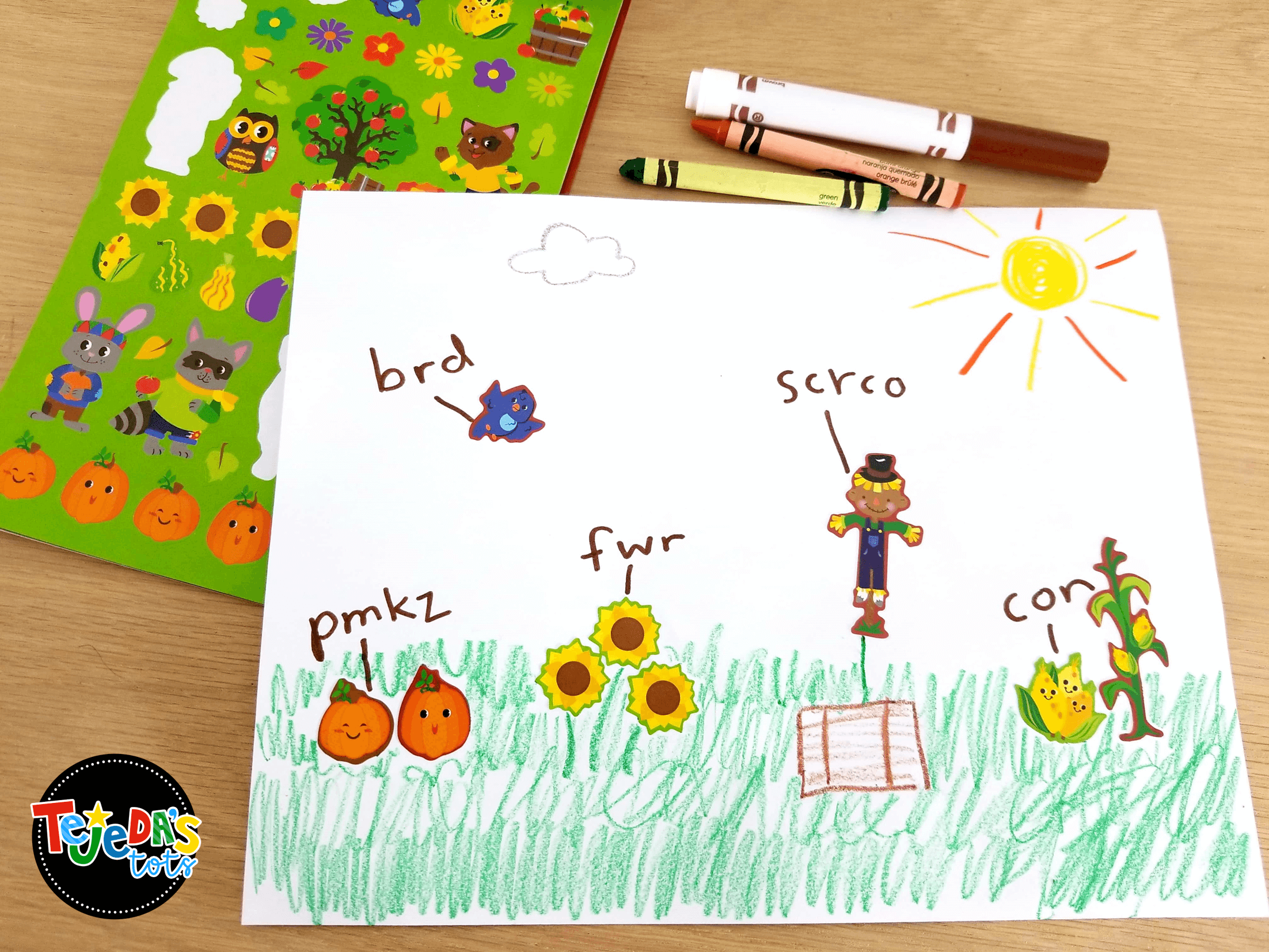 Emergent writers can label pictures using this easy 2-step method. First, say the first sound. Then, say the word slowly and record any sounds you hear. These simple pictures are perfect for labeling whole-group or during centers. English and Spanish included. #tejedastots
