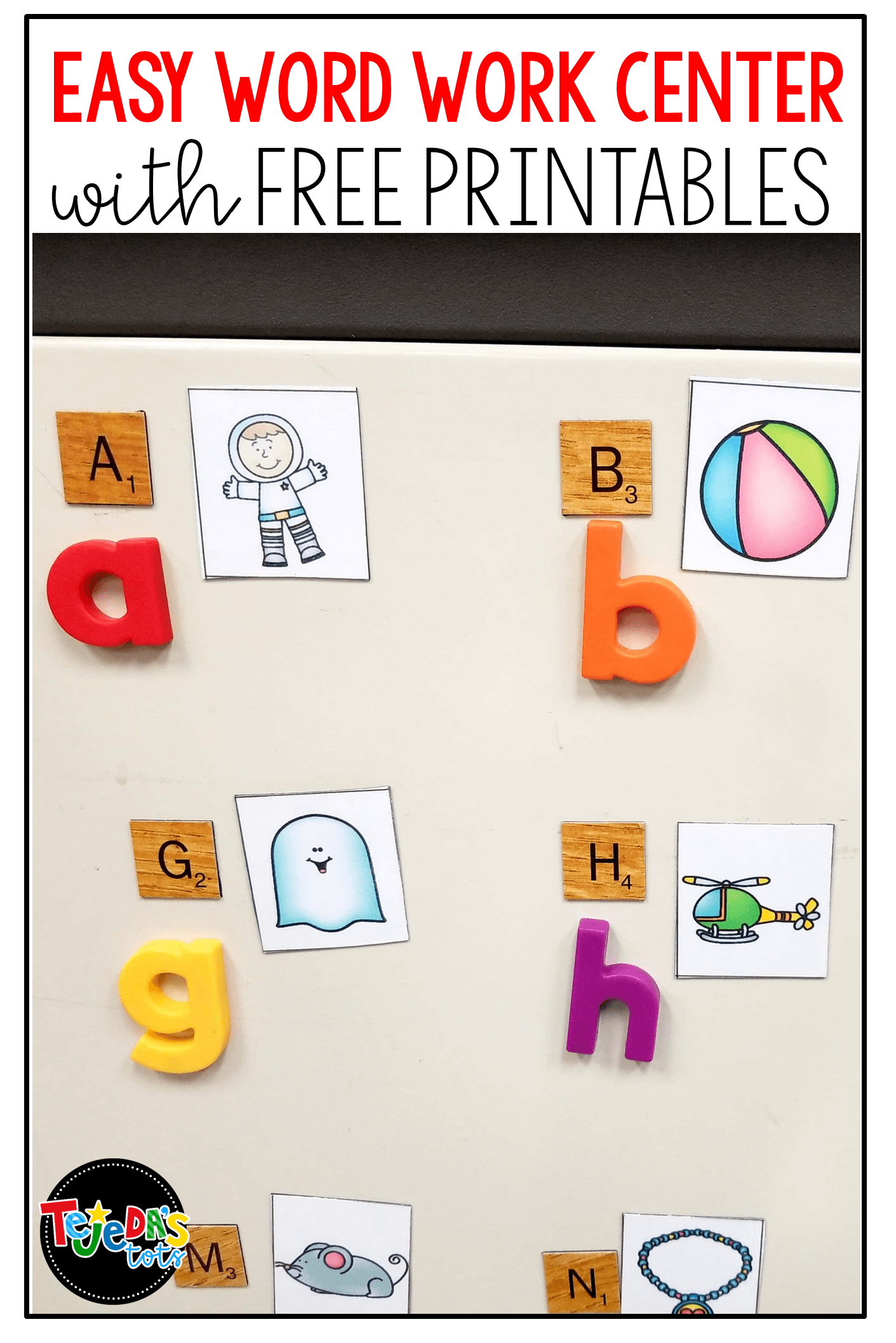 Free Scrabble tile center ideas and printables. Easy, fun word work center for kindergarten and first grade students. Simply place the magnetic tiles onto a file cabinet or metal surface and kids can use for matching upper to lowercase, pictures to beginning sounds, building cvc or sight words, and more! #tejedastots #wordworkcenter
