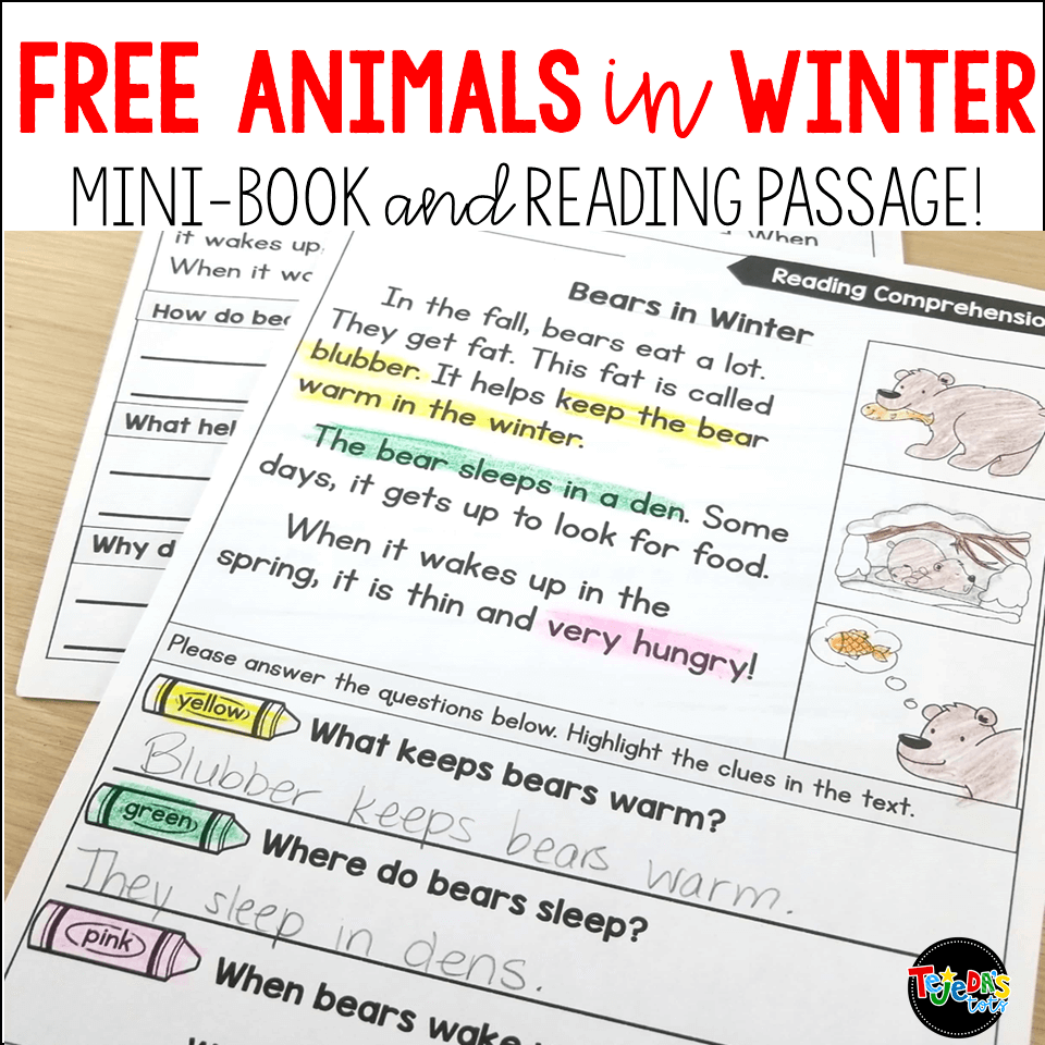 FREE! These differentiated reading passages are perfect for your animals in winter unit! Kids highlight the text to show evidence of comprehension and learn about hibernation, migration, camouflage, and other ways animals adapt to the cold winter! #tejedastots #animalsinwinter #hibernation