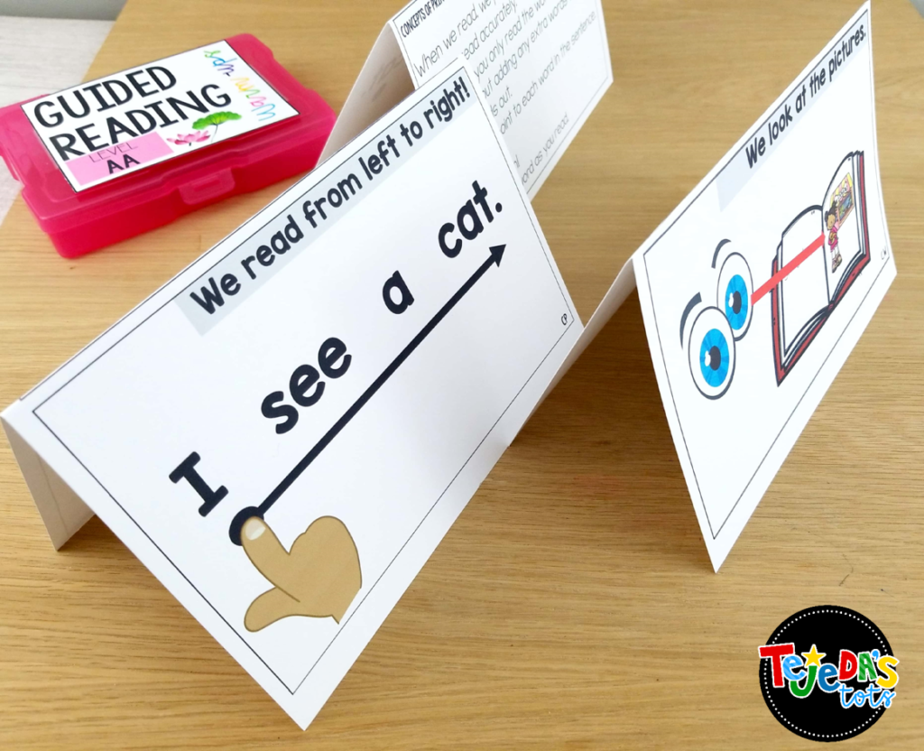 I love using these guided reading teacher tent cards! If you  teach reading skills and strategies, these will be your new best friend! They fold to stand with a teacher script on one side and an example to model the strategy on the student side. No planning ahead for this ready-to-go guided reading tool.  #tejedastots #guidedreading