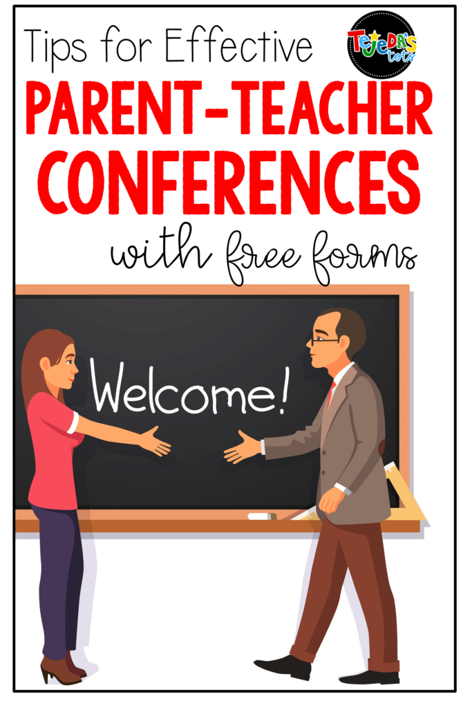Tips for smooth, organized parent-teacher conferences! Includes free conference forms, parent letters, and comment ideas for report cards. #tejedastots #parentteacherconferences