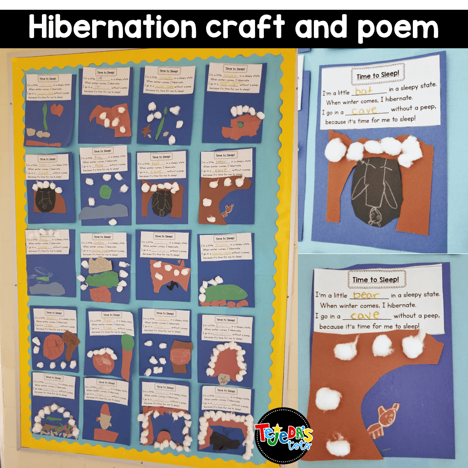 When we learn about hibernation, we love singing this poem to learn about how each animal survives the cold winter! Read this post for tons of ideas about migration, camouflaging, and other ways animals adapt. One of my favorite science units for kindergarten and first grade! #tejedastots #animalsinwinter #hibernation