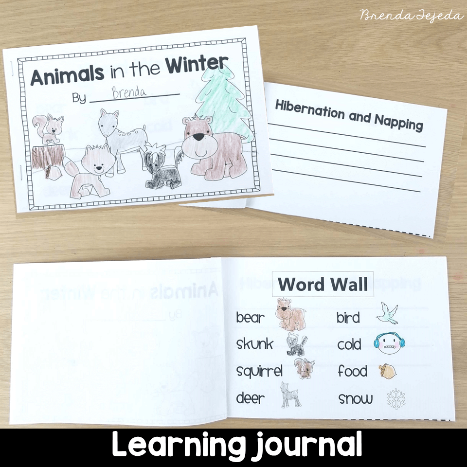 Writing in our Animals in Winter journals is a great way to keep track of learning! Read this post for ideas on teaching about hibernation, migration, camouflage, and other ways animals adapt to the cold winter! #tejedastots #animalsinwinter #hibernation