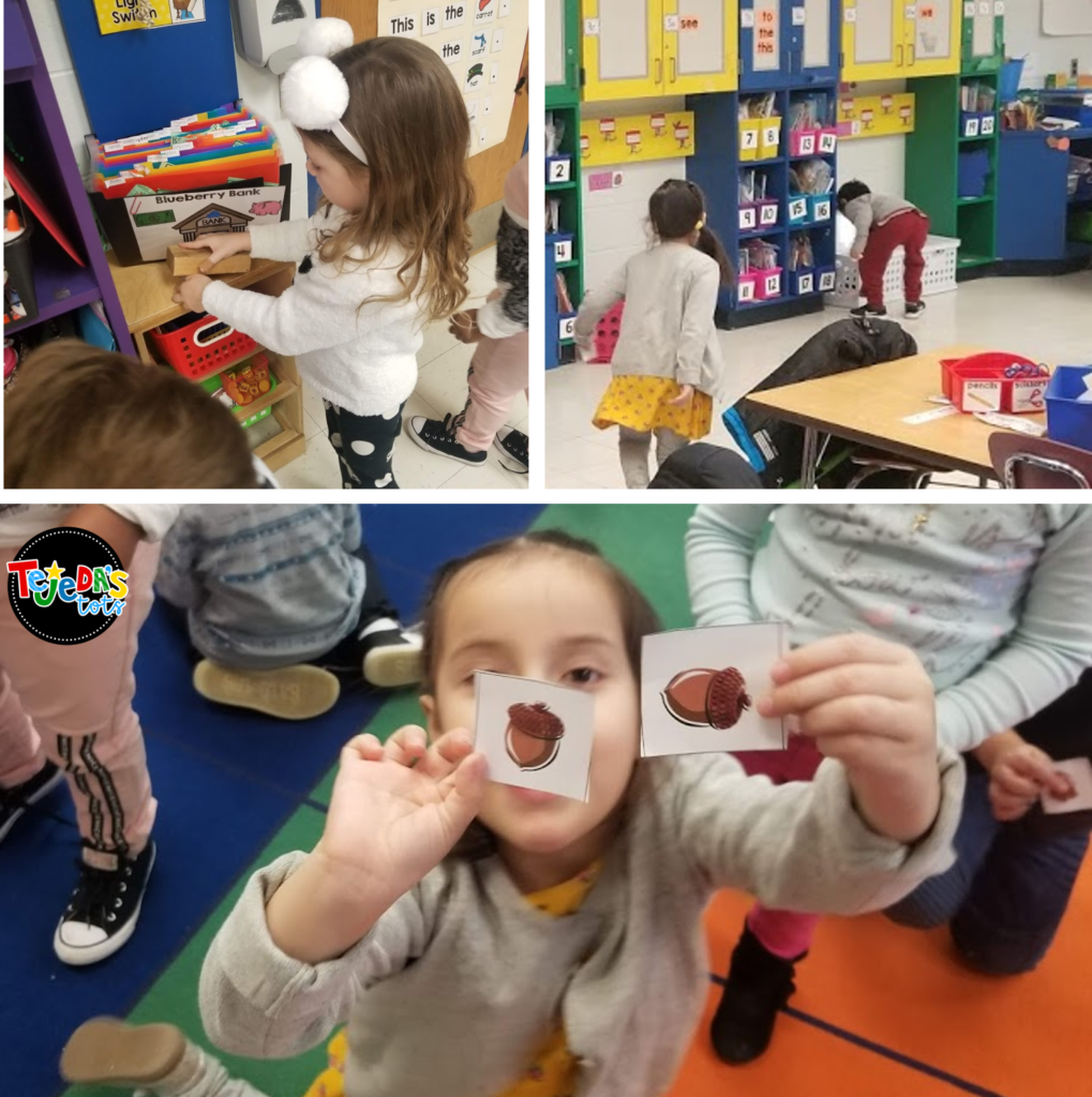 When we learn about animals in winter, we learn that some animals store food in the fall to get ready! Here we are looking for nuts we stored! Read this post for tons of ideas about hibernation, migration, camouflaging, and other ways animals adapt. One of my favorite science units for kindergarten and first grade! #tejedastots #animalsinwinter #hibernation