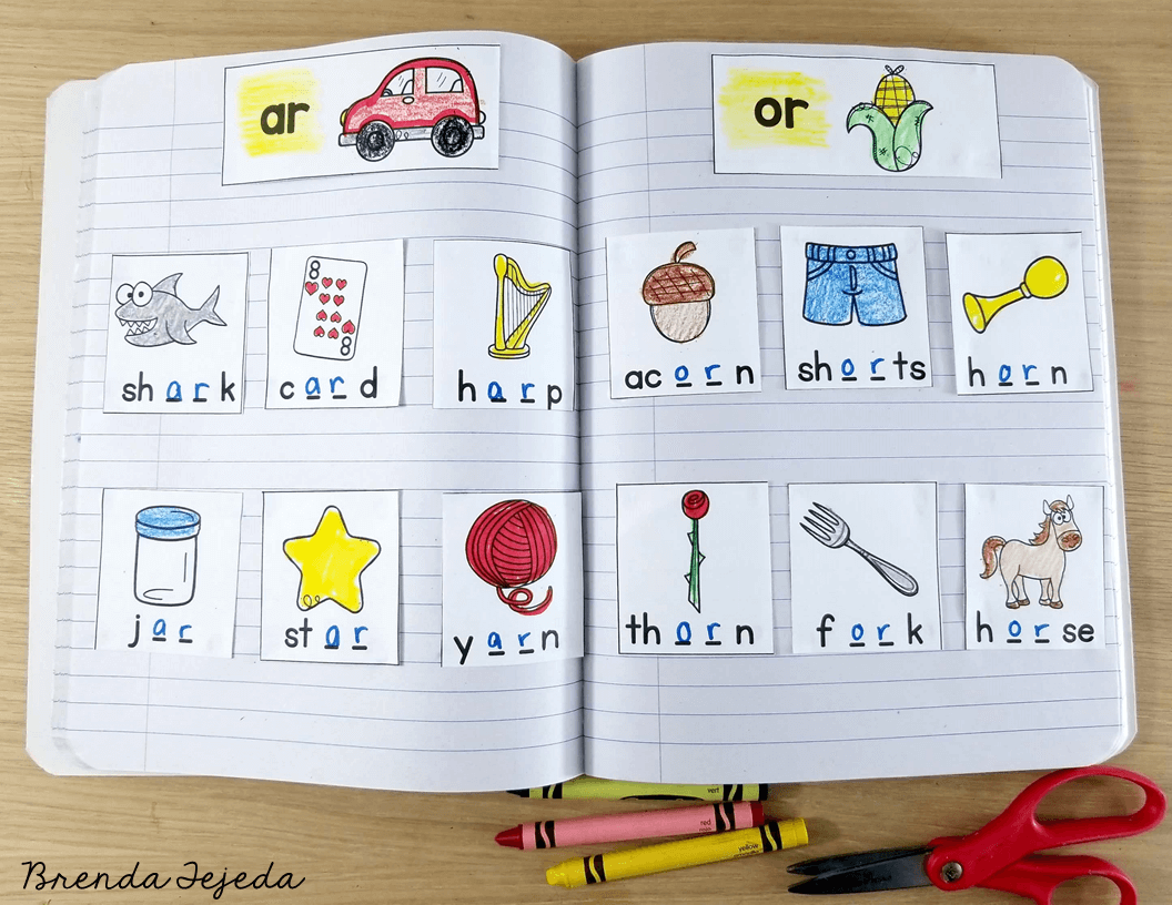 Word sorts are a perfect literacy center activity! Your kindergarten and first grade students will love sorting these pictures in your  word study literacy center! Read this post for 5 anchor literacy centers that will make planning for them easy! #tejedastots #literacycenters
