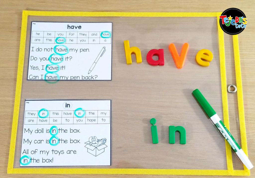 Practicing sight words in context is so important and your kindergarten and first grade students will love this hands-on sight word center! Read this post for 5 anchor literacy centers that will make planning for them easy! #tejedastots #literacycenters