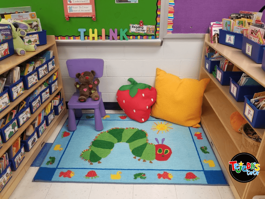 A reading center can be a no-prep, easy-to-manage literacy center! Just set some ground rules and consequences, model, and provide a variety of texts and your kindergarten and first grade students will love reading in your classroom library center! Read this post for 5 anchor literacy centers that will make planning for them easy! #tejedastots #literacycenters