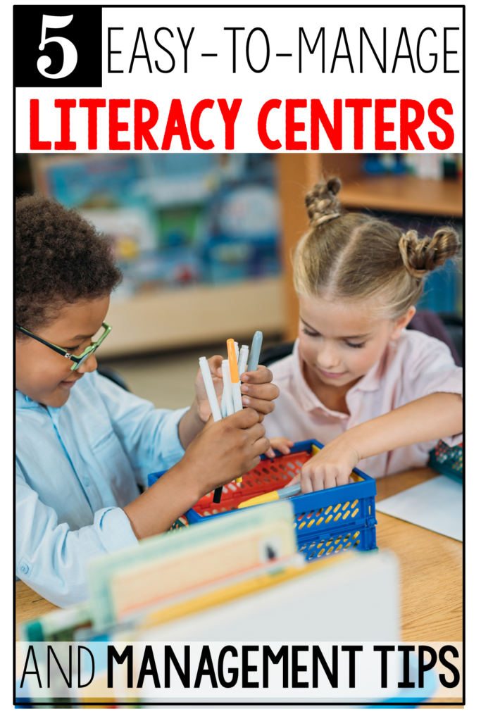 Planning and prepping literacy centers in kindergarten and first grade can be very time-consuming! These anchor centers make planning easy, switching from week to week a breeze, and save you tons of time. Read this post to learn about the 5 centers and how to manage them. #tejedastots #literacycenters