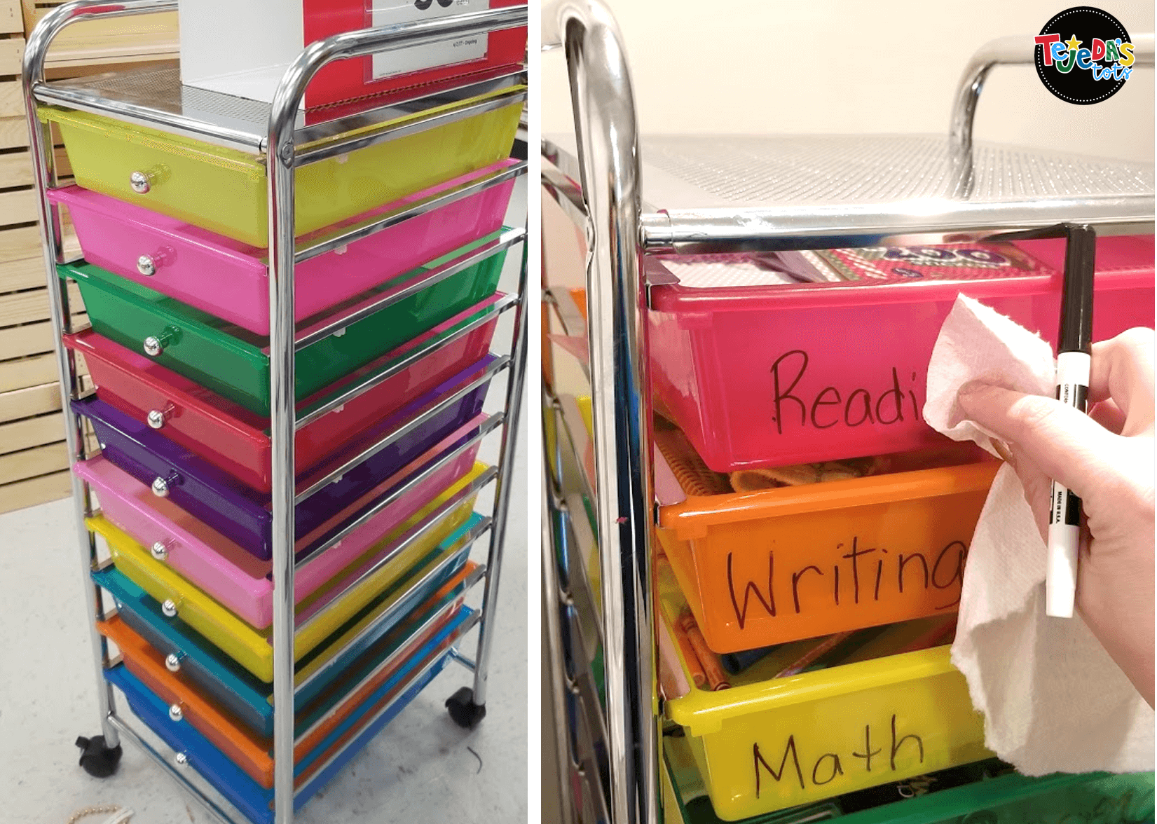 These colorful rainbow drawers are just perfect for classroom storage. This is a must-have teaching supply for me and I actually have 2 so far! Keep important materials, daily activities, centers, and more.