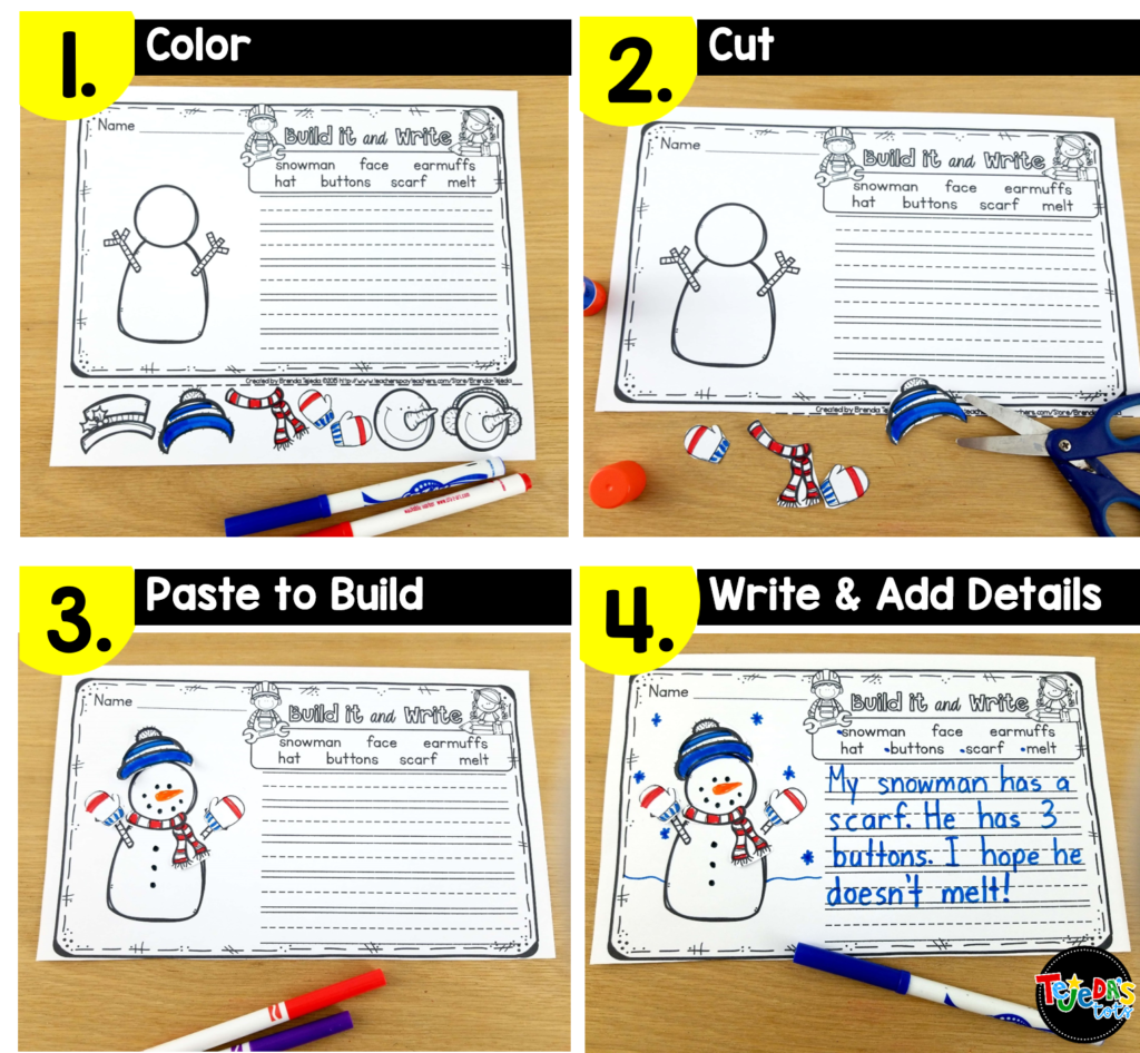 It can be hard to motivate reluctant writers, but your kindergarten and first grade students will love building their picture before writing about it! Read this post for 5 anchor literacy centers that will make planning centers easy! #tejedastots #literacycenters
