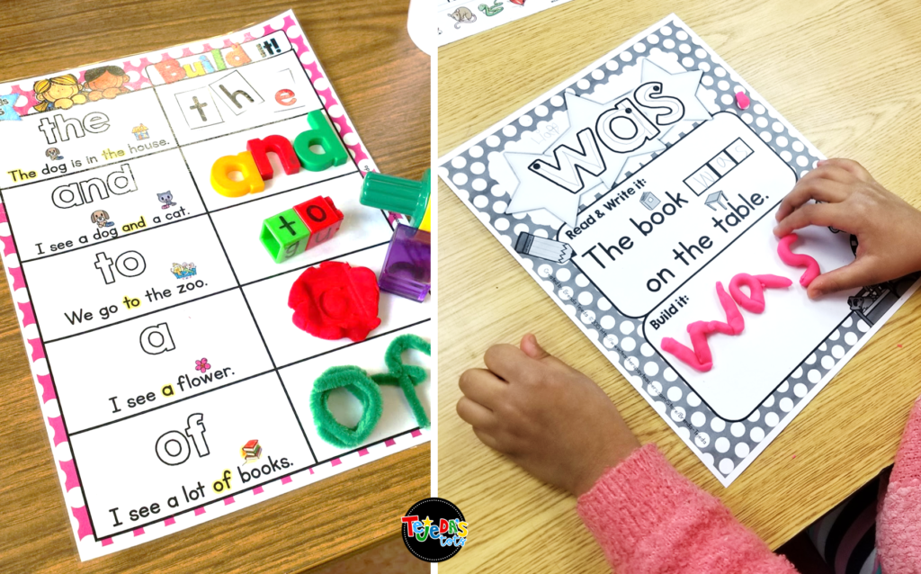 Using hands-on activities are so important during centers and your kindergarten and first grade students will love using these sight word mats! Read this post for 5 anchor literacy centers that will make planning for them easy! #tejedastots #literacycenters