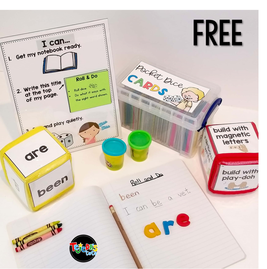 Grab this versatile and FREE sight word center for your literacy center block. Read this post for 5 anchor literacy centers that will make planning for them easy! #tejedastots #literacycenters