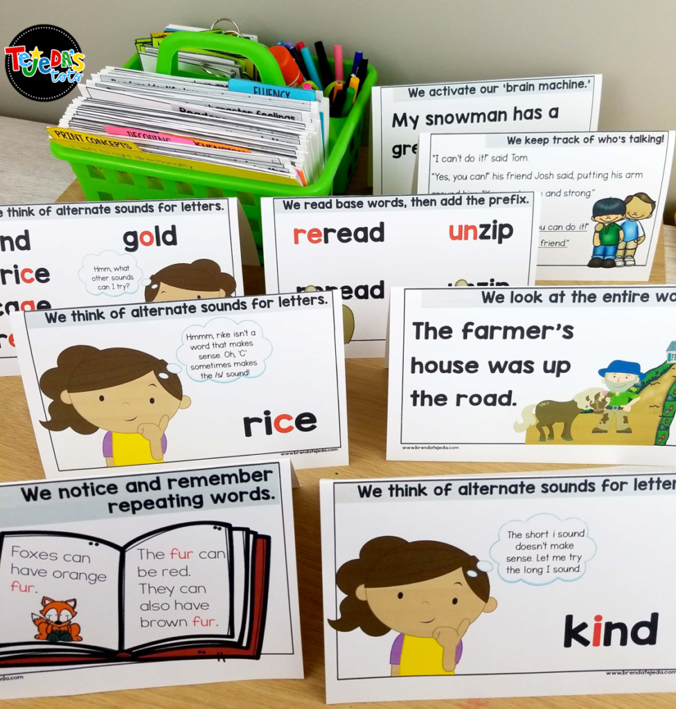 I love using these reading strategy tent cards during guided reading. They help to focus on the skill and make great visuals for kids to refer to when reading. Read to learn tips that can help you make the most of your time with your small reading groups in kindergarten and first grade. #tejedastots #guidedreading