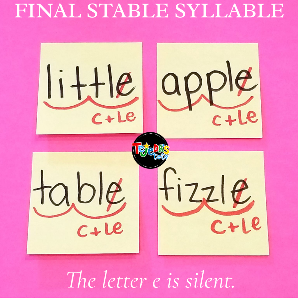Marking up syllables is a great way to identify syllable types. Knowing how to identify and divide syllable types can help students decode multi-syllabic words! Read about six syllable types and tricks for syllable division and decoding. These phonics strategies will help your first graders when they encounter a big word. Final stable syllables can be very tricky for kids in first grade.