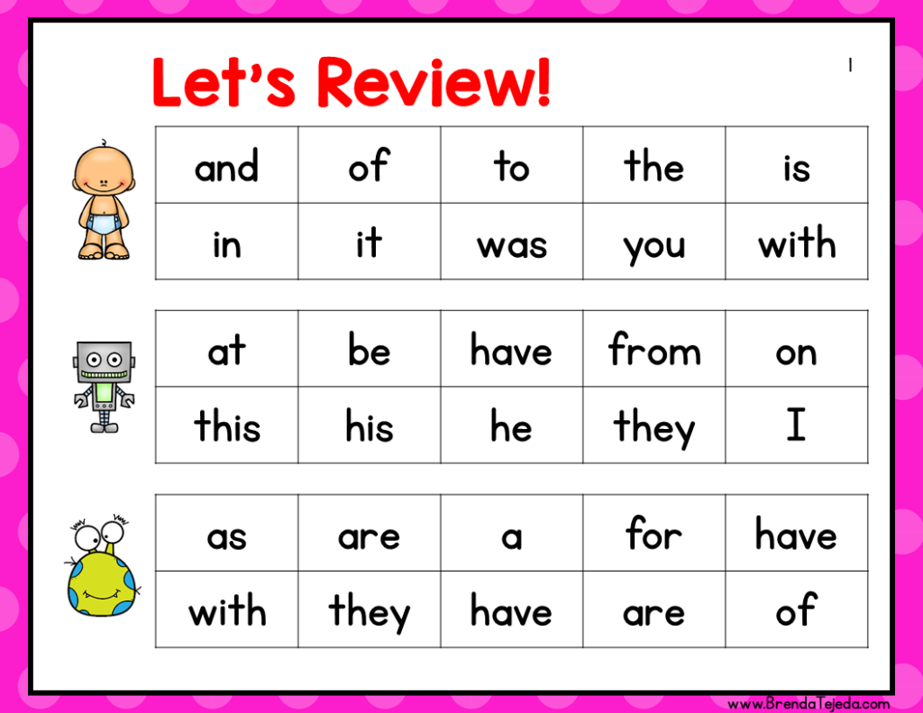 These fluency review slides are perfect for reviewing previously-covered sight words in a fun way!