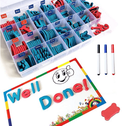 Magnetic letters are a must-have supply for kindergarten and first grade classrooms! These are perfect for centers, whole-group instruction, and guided reading. Paired with cookie trays from The Dollar Tree, they make excellent word-building tools.