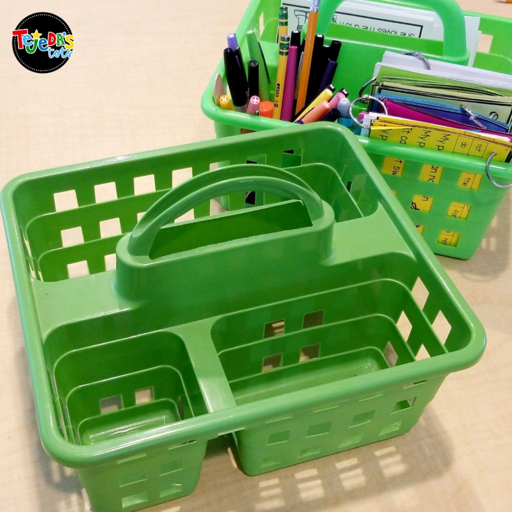 This Dollar Tree find is a must=have teaching supply! You can't beat the price and they have nice, bright colors. I use these caddies for my office supplies, as well as my guided reading table, writing center, and student tables.