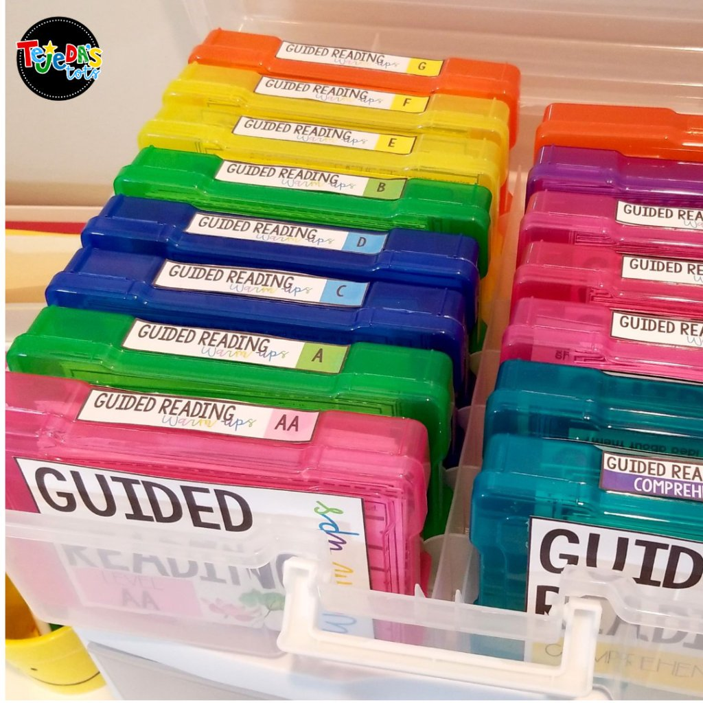 These colorful photo storage boxes are just perfect for organizing your task cards. I keep my Guided Reading skill cards in them, by reading level. It's so easy to take out exactly what I need for my small group instruction or intervention.