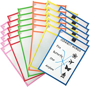 Dry-erase sleeves are a must-have supply for kindergarten and first grade classrooms! These are perfect for centers and fluency practice. Great alternate to laminating everything.