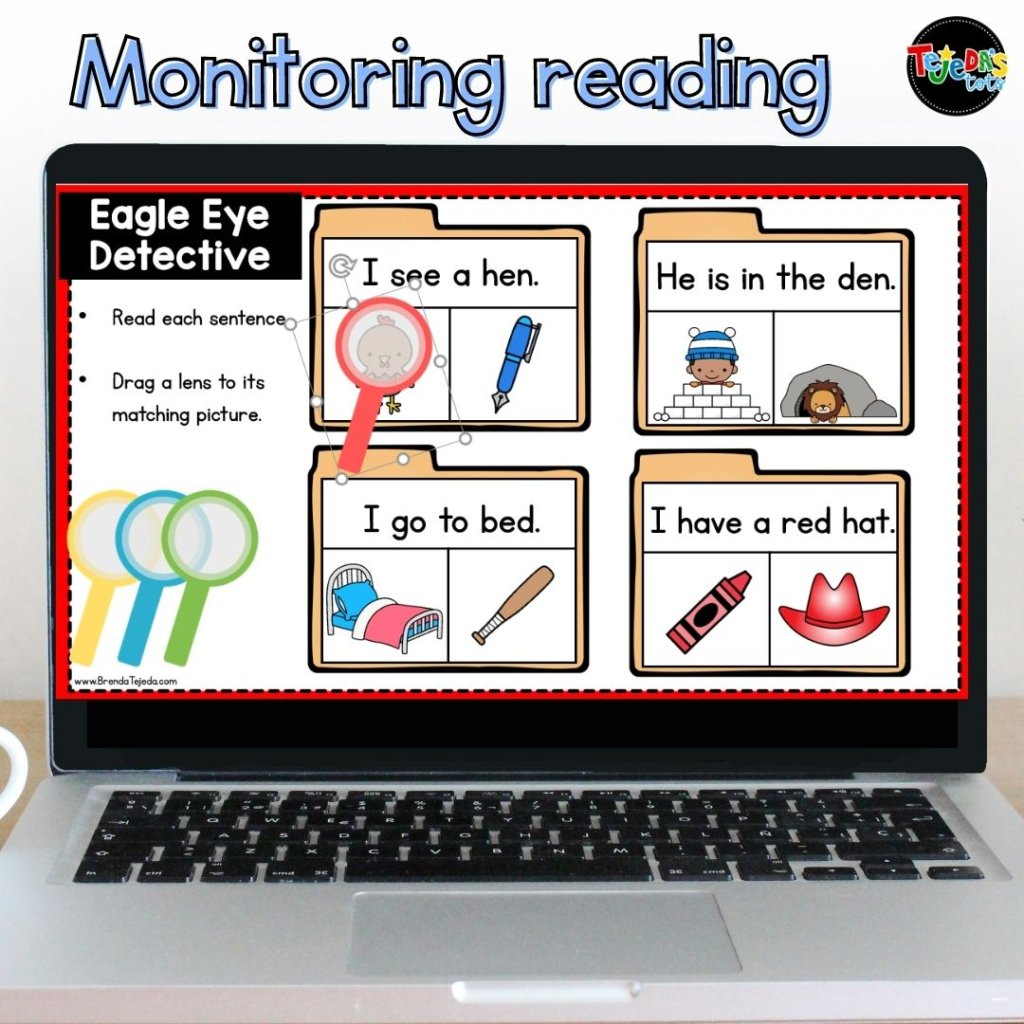 In this digital activity for use with Google Slides, kids read the sentence and find the picture that matches it. It's a great way to practice the Eagle Eye comprehension strategy in kindergarten and first grade. Read the blog post for a close look at my Eagle Eye reading strategy resource.