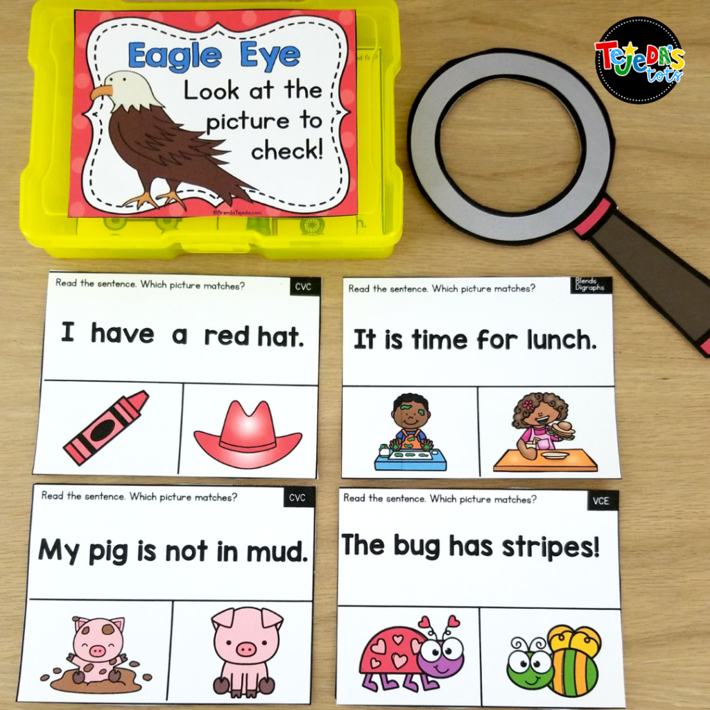 In this activity, kids read the sentence and find the picture that matches it. It's a great way to practice Eagle Eye as a comprehension strategy in kindergarten and first grade. Read the blog post for a close look at my Eagle Eye reading strategy resource.