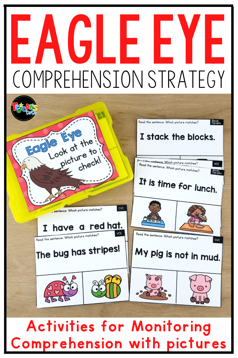 Eagle Eye is an important comprehension strategy for beginning readers. After decoding the text, kindergarten and first-grade students are encouraged to look at the picture to confirm their reading. Read tips on using this strategy, as well as a look into my Eagle Eye reading strategy resource, with printable and digital activities. Includes a PowerPoint to introduce the strategy and many practice activities.