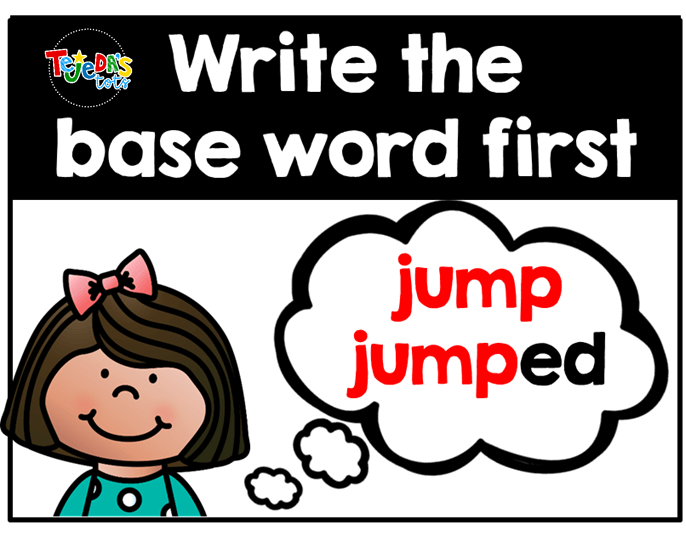 Thinking of a base, or root word, first when spelling is such a great spelling strategy. It'll help kids hear the final sound and remember to add the correct suffix. Grab free pieces to make your own spelling strategies anchor chart here.